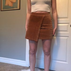 Tan skirt with flap detail